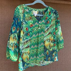 Anthropologie fig and flowers peacock top size SP